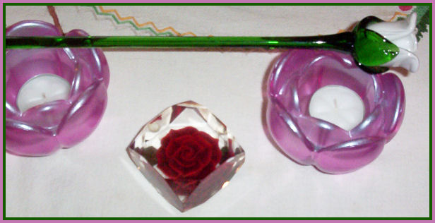 candles, paperweight, glass rose